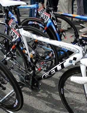 Another black and white bike celebrates Garmin-Chipotle's Julian Dean as New Zealand champion.