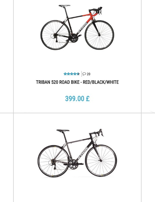 Decathlon sells its exclusive brands, including B'Twin bikes