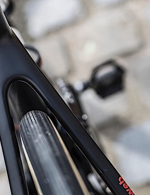 Giant's integrated seatpost is designed for a little flex for comfort, as are the seatstays
