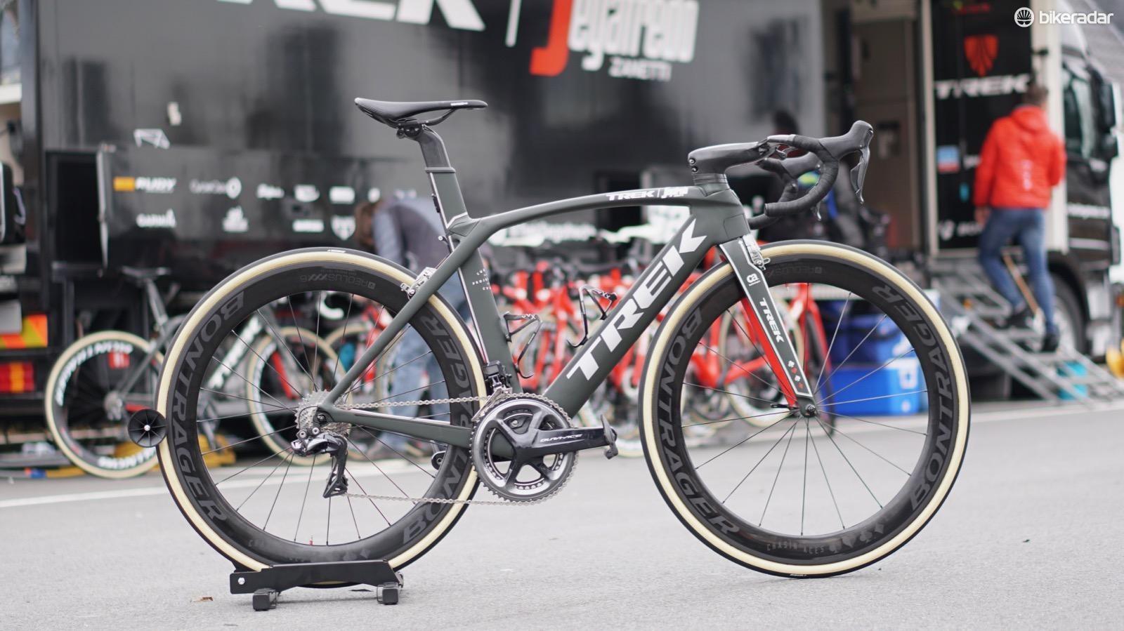 Trek-Segafredo's John Degenkolb has custom new Aeolus XXX wheels for his Trek Madone, but he is riding a special Madone for the Tour of Flanders