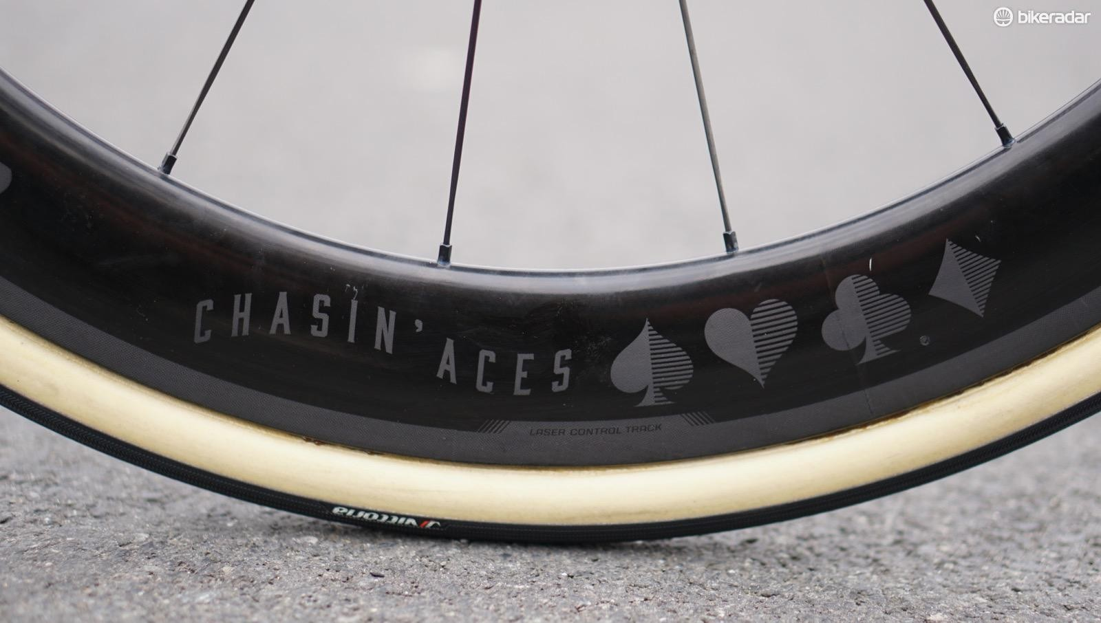 Bontrager just launched Aeolus XXX wheels, which have a laser-etched brake track, and, for Degenkolb, laser-etched custom graphics