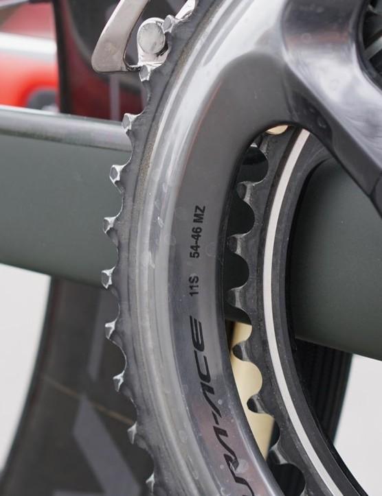 On his regular bike, Degenkolb uses 54/39 rings