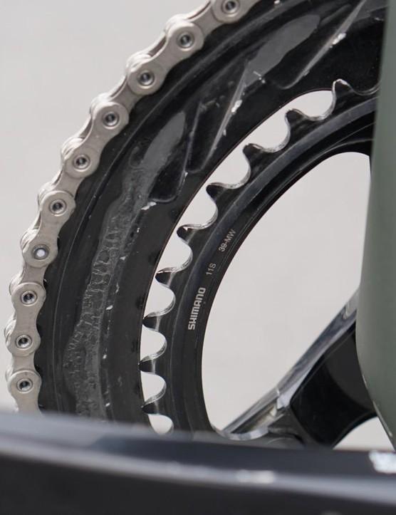 Shimano doesn't endorse mixing rings, but the bike shifts fine