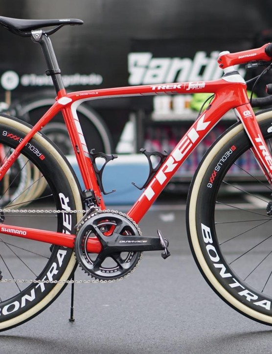 John Degenkolb won Paris-Roubaix in 2015 on a 2014 Giant Defy. This year, he's racing on a current Trek Domane but with a just-released Ultegra RX clutch derailleur