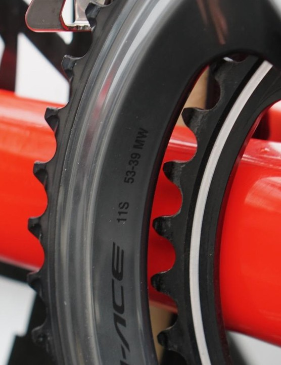 While others have used larger inner chainrings, Degenkolb has stuck with a 39T