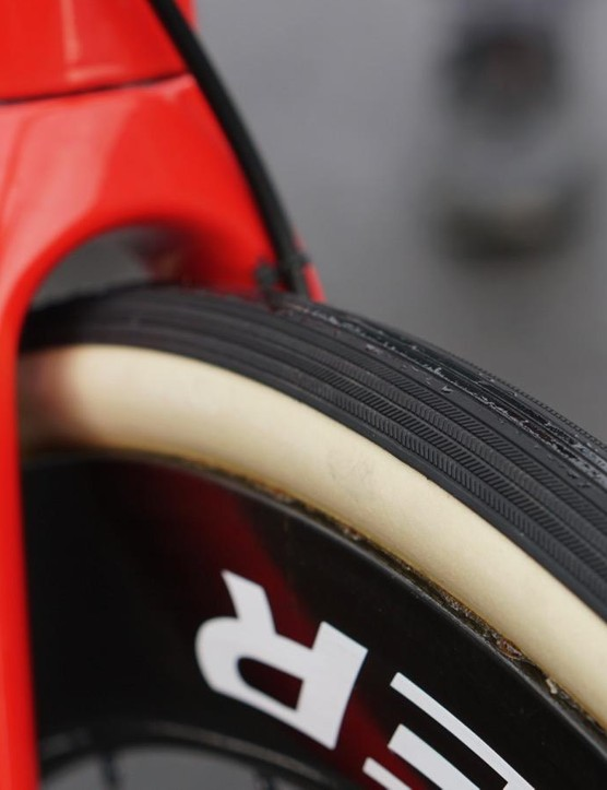 Trek-Segafredo raced 28mm tubulars for the Tour of Flanders, and is racing these 30mm Vittoria tubulars for Paris-Roubaix