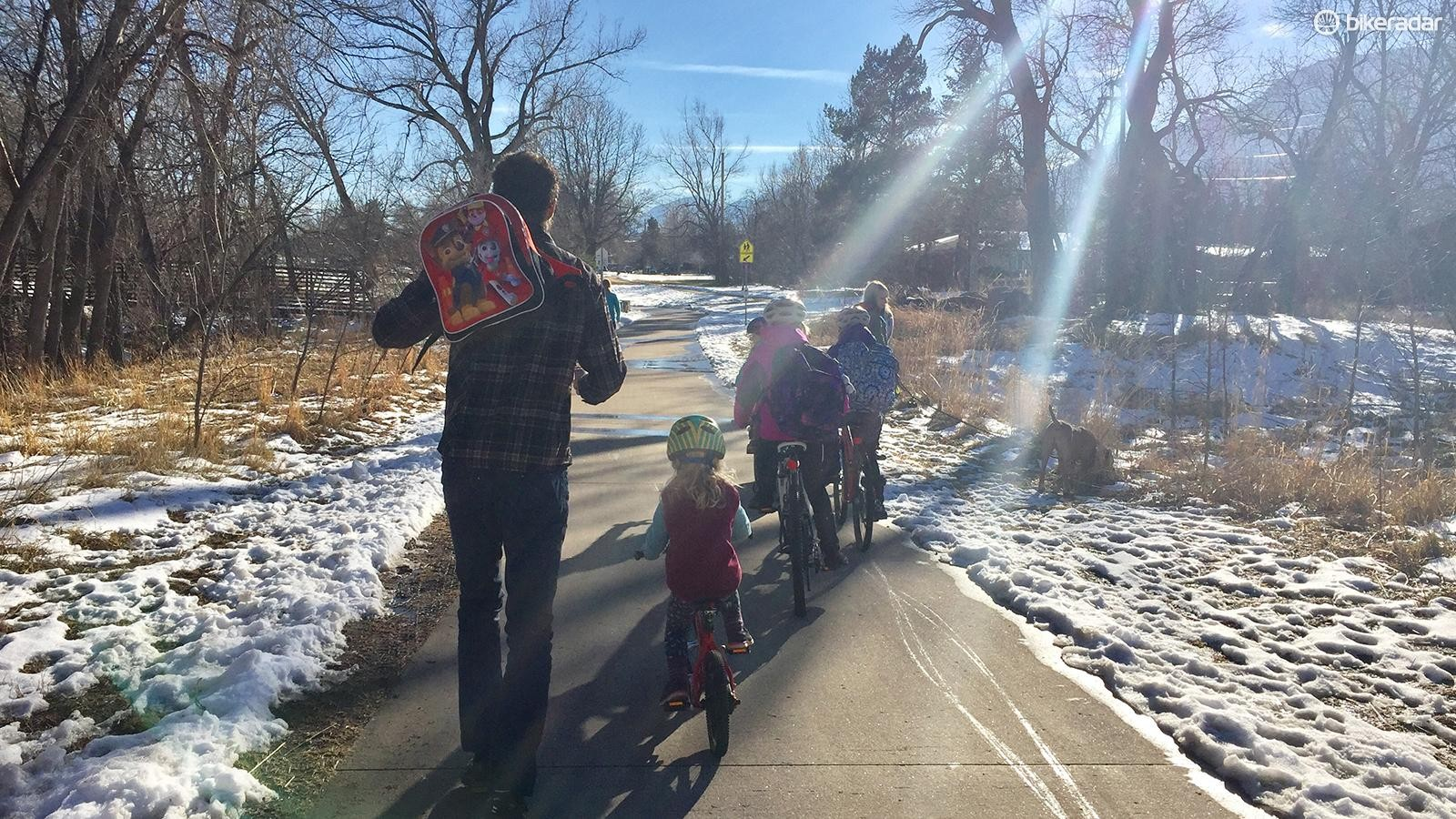 The bike paths in Boulder, Colorado allow riders of all ages to commute to work and school