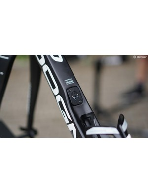 Knees' Pinarello Dogma features an integrated Di2 junction box in the down tube