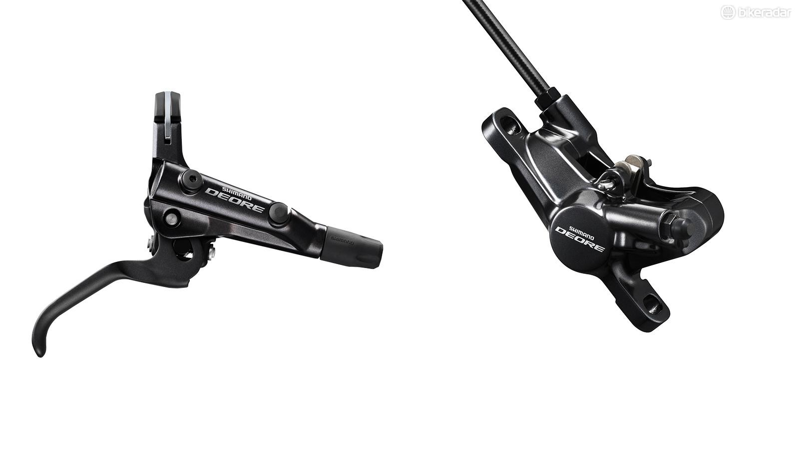 The new Deore brakes look more polished than their predecessors, with slimmer clamps and a new finish