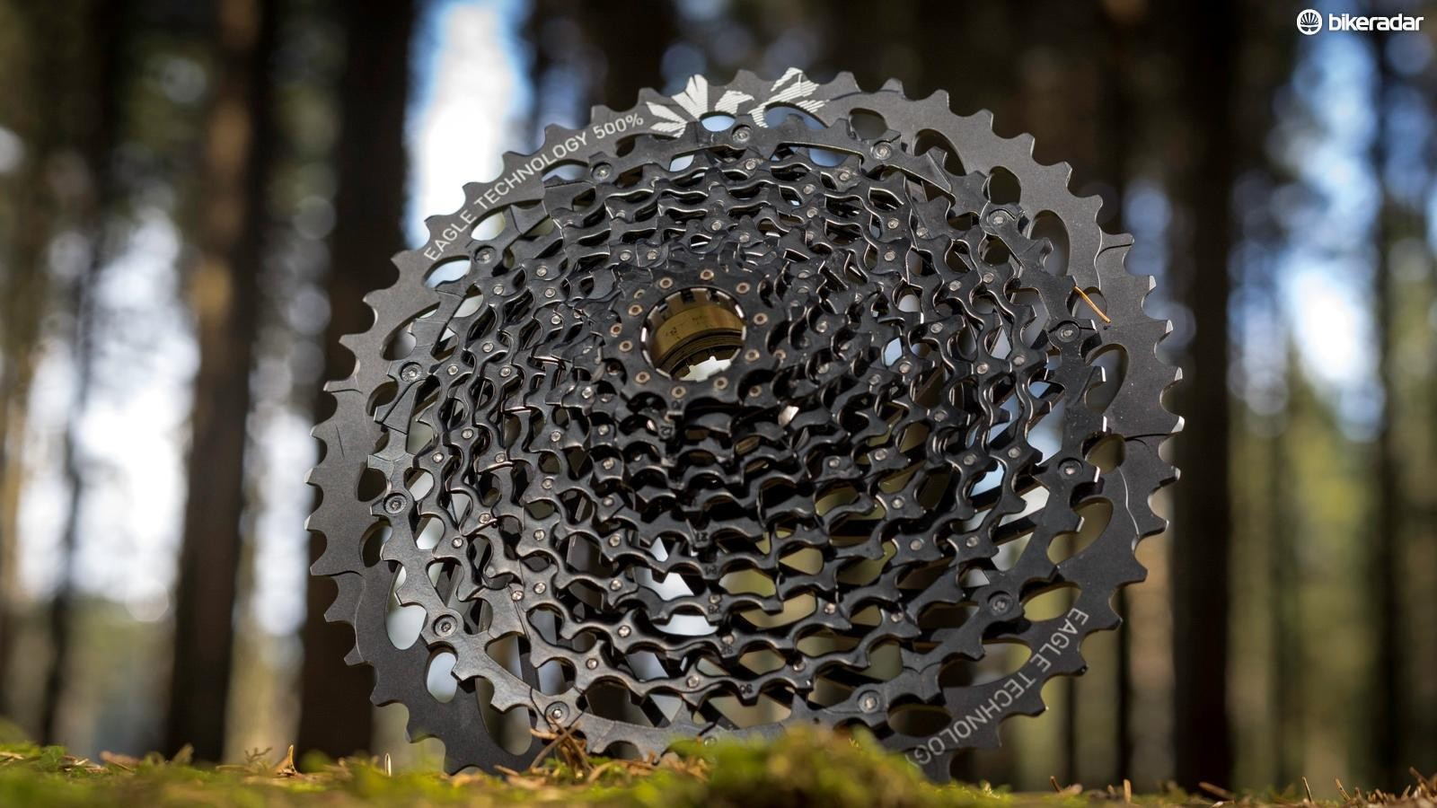 The GX Eagle cassette is pinned together, rather than machined, to keep the cost down