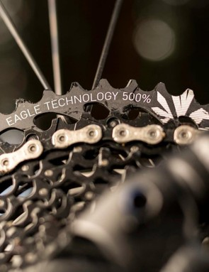 Just in case you didn't know what your gear range was, SRAM offers a little reminder emblazoned on the dinner plate sized 50T sprocket