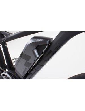 There's a Shimano STEPS battery mounted on the down tube