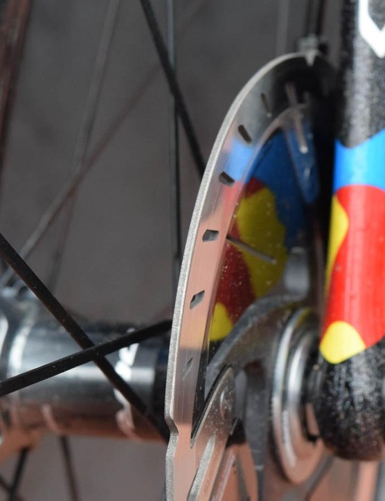 The latest disc rotors for road bikes feature a chamfered edge that's less likely to slice through innocent roadie flesh