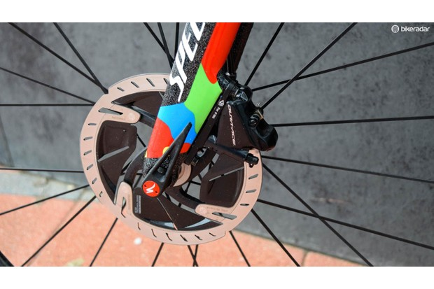 Road discs are starting to take over. These futuristic looking rotors are part of the Dura-Ace groupset