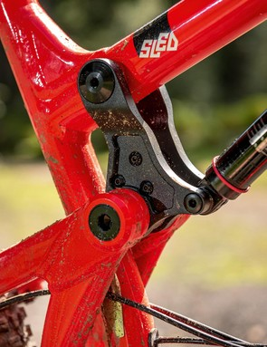 While DMR's original Bolt full-susser was steel, the Sled's frame is aluminium