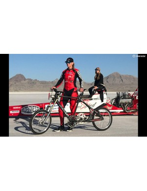 Denise Mueller-Korenek stands with her custom KHS land speed record bike