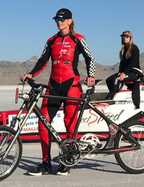 Denise Mueller-Korenek stands with her custom KHS land speed record bike
