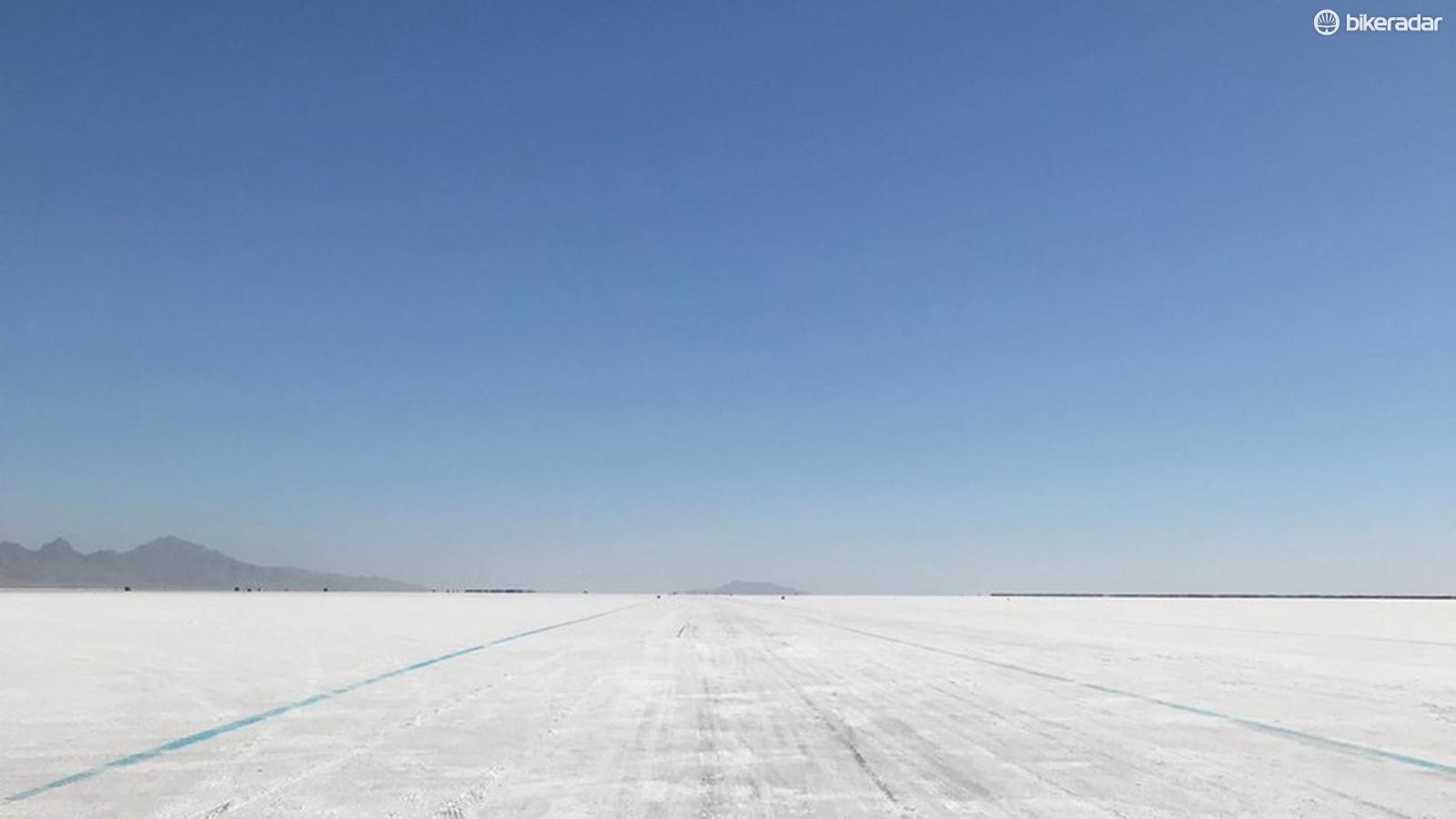 The famous Bonneville Salt Flats in Utah