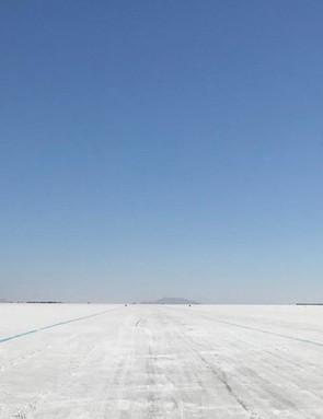The famous Bonneville Salt Flats in Utah