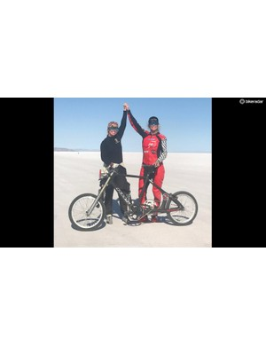 Denise Mueller-Korenek celebrates her world record on the Bonnevile Salt Flats