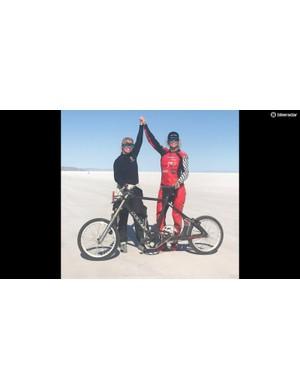 Denise Mueller-Korenek celebrates her world record on the Bonnevile Salt Flats