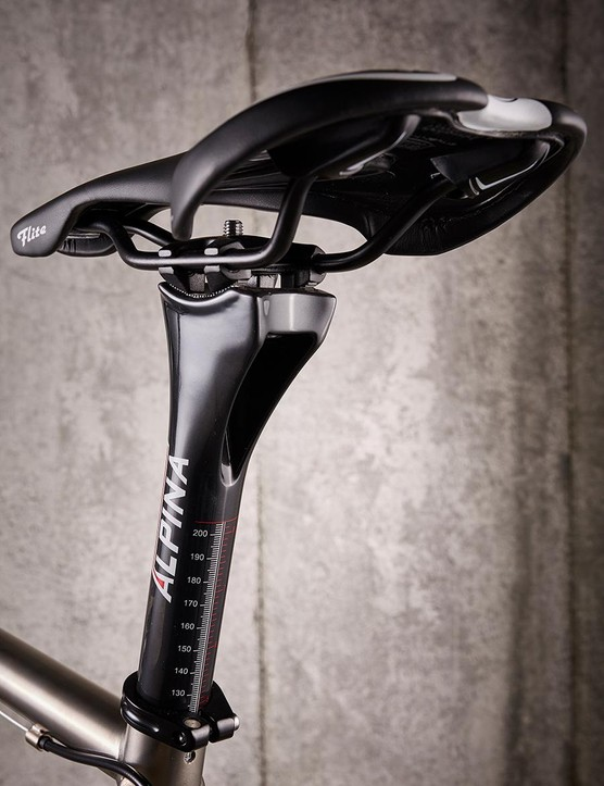 The huge Alpina seatpost looks out of place on such a svelte frame