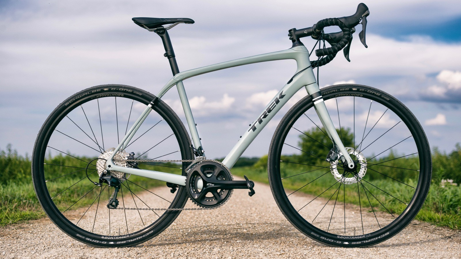 The $2,499 Trek Domane SL 5 Gravel features a carbon frameset, a Shimano 105 group and 35mm Schwalbe G-One tires