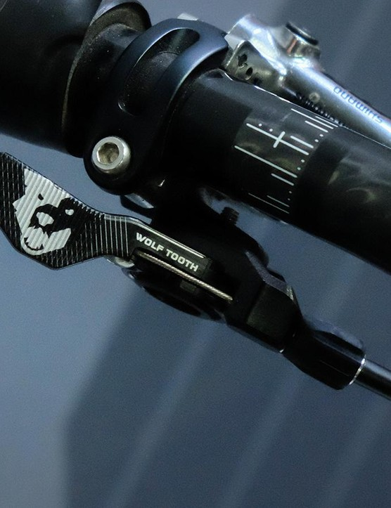 Wolf Tooth's ReMote lever mounts directly to Shimano and SRAM brake levers. It also comes in a hinged clamp version