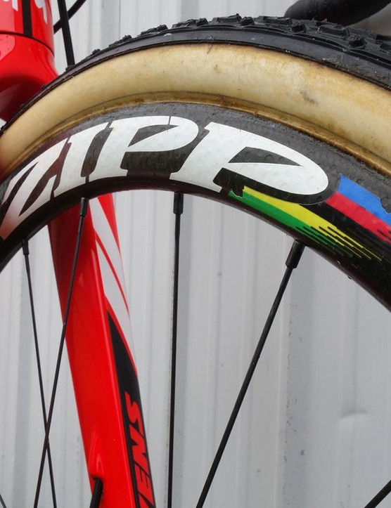 World champion rainbow stripes adorn van Aert's wheels