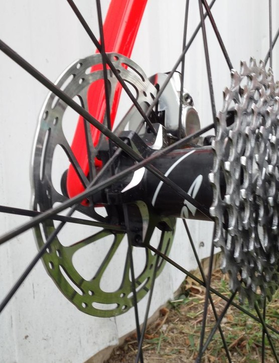 SRAM rotors are used front and rear on van Aert's bike