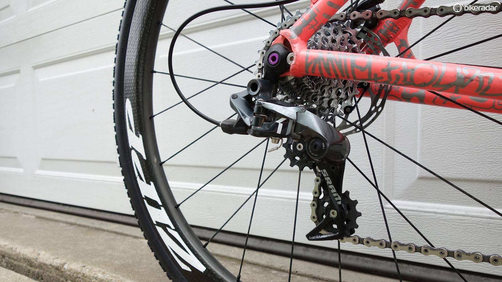The bike is equipped with a mechanical SRAM Force rear derailleur