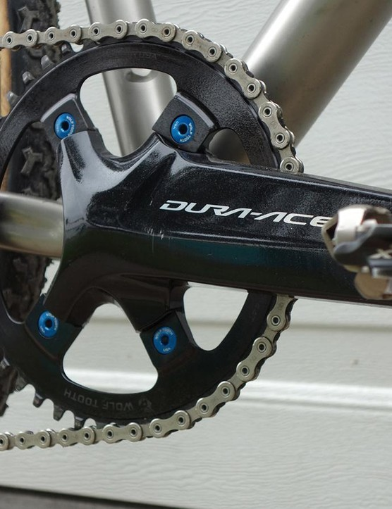 Selander runs his Shimano Dura-Ace R9100 crankset as a 1x system using a Wolftooth chainring