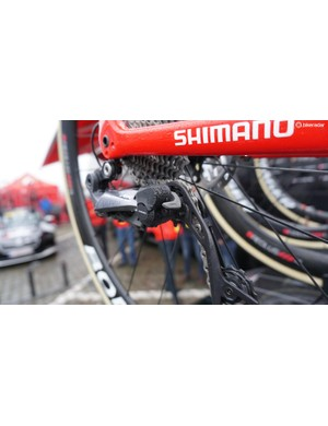 Jasper Stuyven has been testing Shimano's new Ultegra RX clutch derailleur, which can be switched on or off to engage the derailleur over cobbles and reduce chain movement and disengaged on flatter surfaces to reduce friction