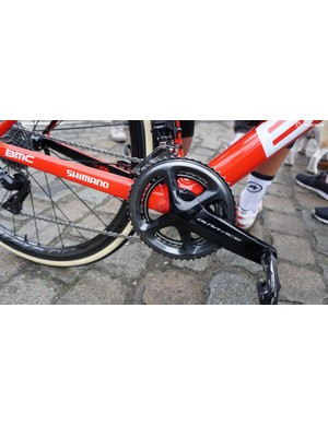 Like all the BMC Racing riders, Drucker's Teammachine was equipped with a Shimano R9100-P power meter