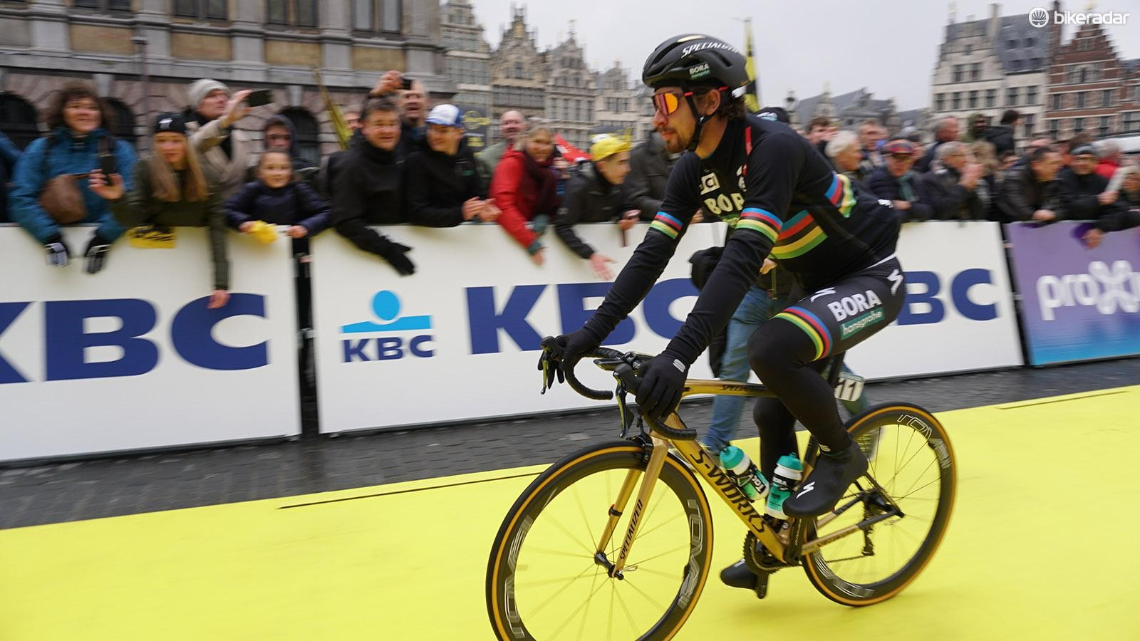 World champion Peter Sagan rode the Tour of Flanders on his new Sagan Collection S-Works Tarmac