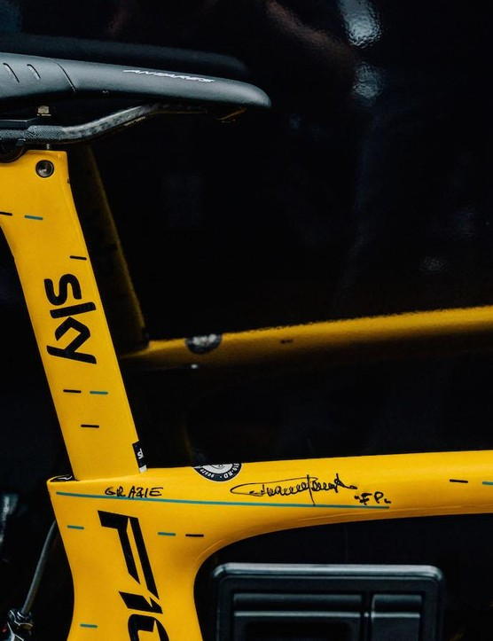 The top tube appears to have a personal touch from Fausto Pinarello
