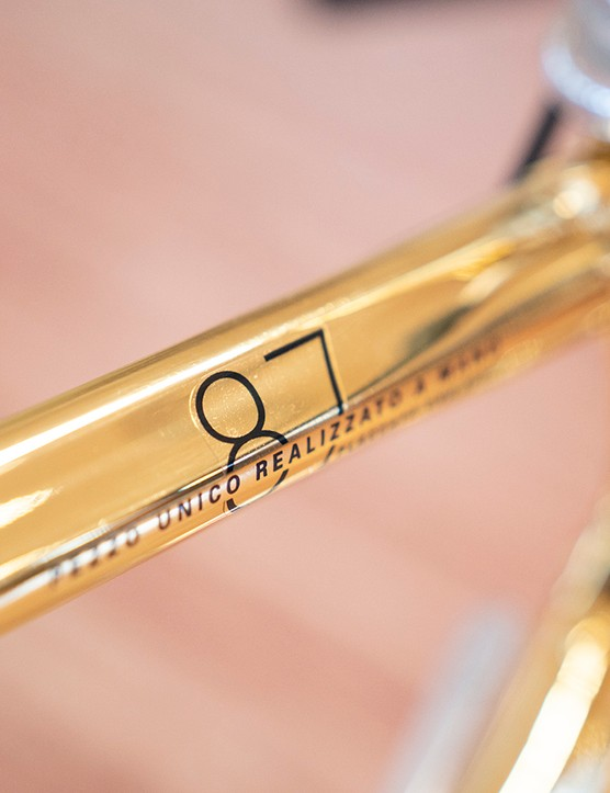 Detailing on the top tube celebrates the 87th birthday