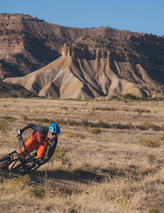 Rocky Mountain pro Geoff Gulevich presses hard through a high-desert berm