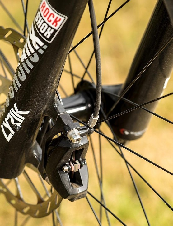 A RockShox Lyrik keeps the front glued to the ground when needed
