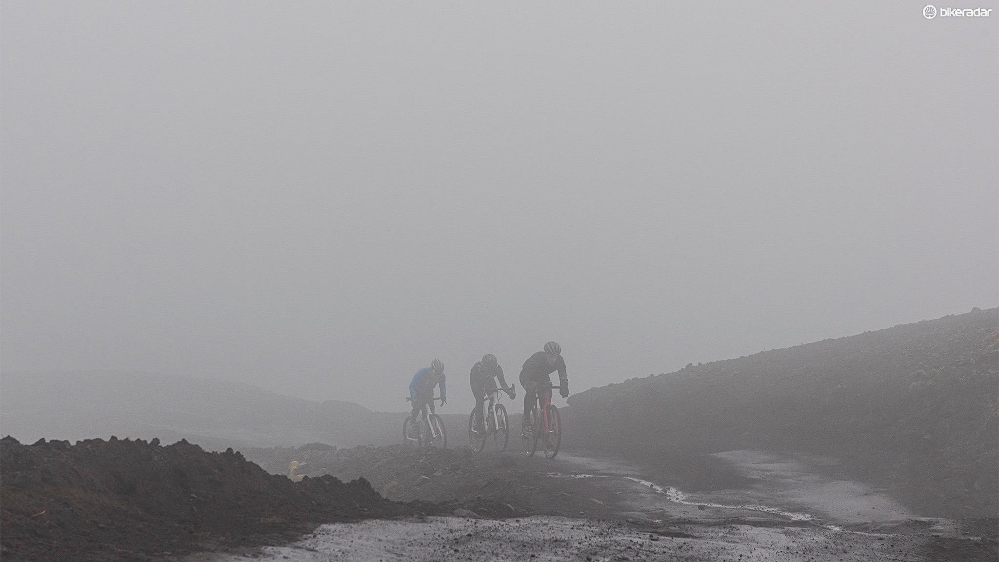 As the mist descended, visibility was low making descents sketchy