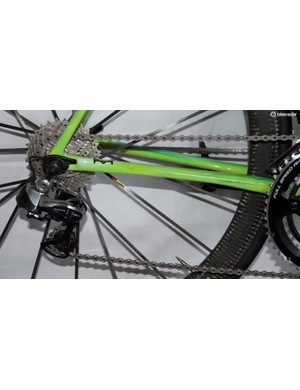 The Cannondale is equipped with Shimano Dura-Ace shifting