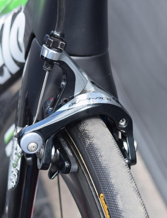 Dimension Data's Cervélos are equipped with Shimano Dura-Ace 9000 series brakes