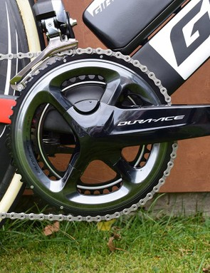 Dumoulin ran a Pioneer power meter equipped Shimano Dura-Ace 9000 series crankset during the time trial in Bergen