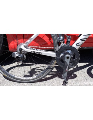 The Canyon is equipped with SRAM Red eTap and a Quarq powermeter