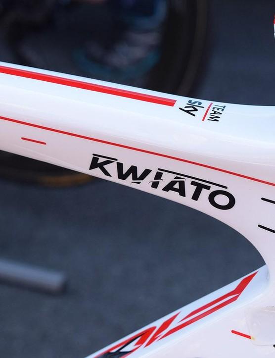 Kwiatkowski's nickname, Kwiato , adorns the top tube of the custom painted frameset