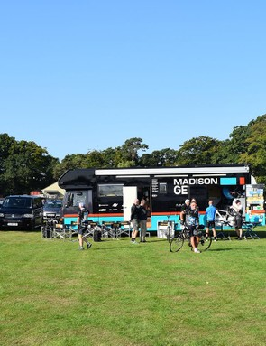 Professional teams arrived in their team buses ahead of the Tour of Britain