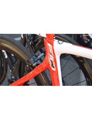 In its second season of racing, the Pinarello Dogma F10 framesets feature traditional one bolt brake mounts as opposed to the more frequently seen direct mount option