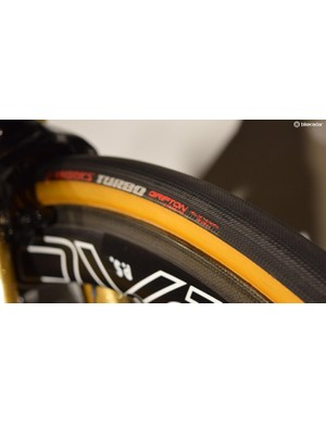 The Tarmac was equipped with 28mm S-Works Turbo tubular tyres