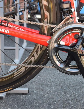 Kwiatkowski's bike is equipped with a full Shimano Dura-Ace R9150 drivetrain