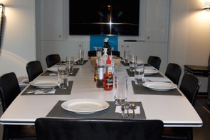 The eight seater dining table inside the truck